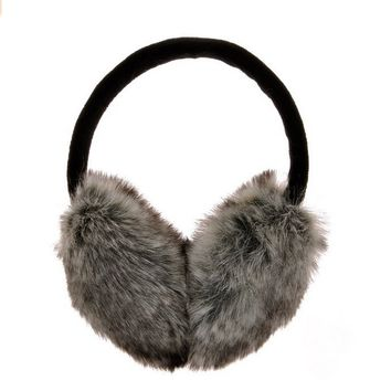 Unisex Soft Winter Faux Fur Warm Adjustable Earmuffs Earwarmer Gray