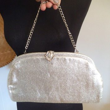 Vintage Silver Lame Evening Bag with Art Deco Clasp ~ 1950s - 60s Clutch