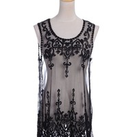 Anna-Kaci S/M Fit Romantic Goth Scallop Hem Wrought Iron Embroidered Dress