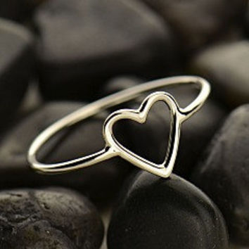 Ring - Sterling Silver Open Heart Ring, Minimal, Dainty, Infinity Jewelry, Figure Eight, Bridesmaid Gift, Friendship, Sisters, Stackable