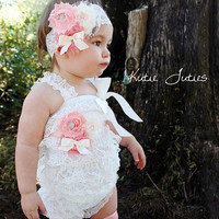 Gabriella Romper, Sash, Headband- Ivory, Light Coral, Coral Pink, Peach, 1st birthday, baby, Girl, Newborn, Infant, Toddler
