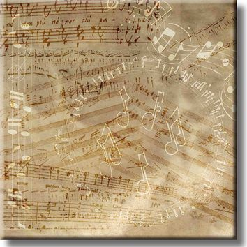 Vintage Music Notes Picture on Stretched Canvas, Wall Art Décor, Ready to Hang