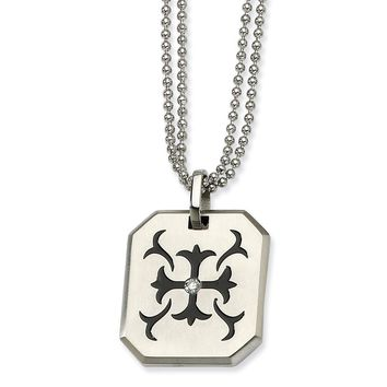 Stainless Steel Black Enamel Patonce Cross Necklace with CZ - 22 Inch
