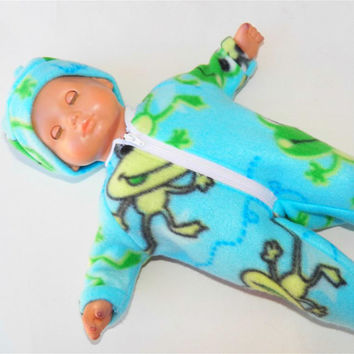 """Bitty Baby Doll Clothes Twin Girl, Boy or Baby Doll 15"""" American Girl Mint Blue Green Frog Print Polar Fleece Pajamas Zip Up Feetie Cap Hat"""