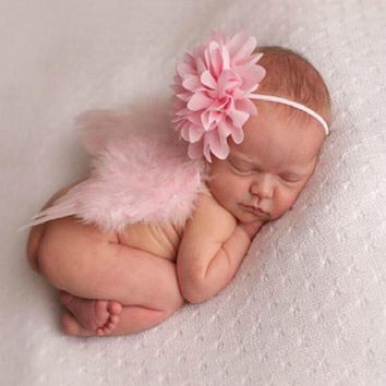 Cute Pink Newborn Girl Clothes Baby Photography Prop Feather Angel Wings Lace Flower Headband Set Ropa De Bebe Photo Accessories