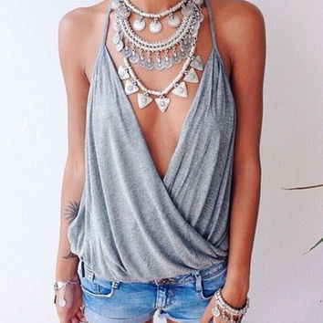 Gray Criss-Cross Tank