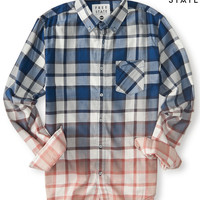 Aeropostale  Free State Long Sleeve Plaid Dip-Dye Woven Shirt
