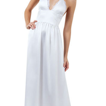 Luminous Night Gown, white satin gown - Yandy.com