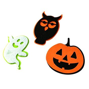3pc DIY Cute Wall Decor Halloween Felt Ghost Owl Pumpkin Ornaments Outdoor Home Christmas Party Decor