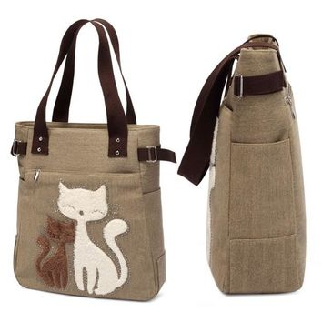 Fashion Women Canvas Handbag Casual Big Tote Bag Cartoon Cat Appliques Designer Handbags
