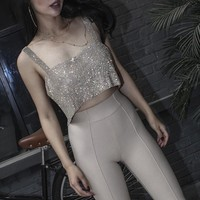 Sexy Sequined Strap Crop Tank Top Women Club Party Bling Bling Cami Camisole Top Bralette Rhinestones