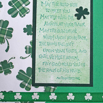 Irish Blessing Greeting Card, May the Road Rise to Meet You, Green Handmade Shamrocks Notecard for Birthdays, Weddings, St. Patrick's Day