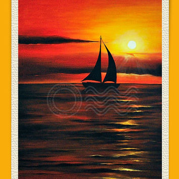 Sunset, Print,Giclee,from my Original Oil Painting 30 x 40 on canvas,Ready to Frame, mother's day gift 11 x 14 .8x10 or 5x7,ArtbyAFox
