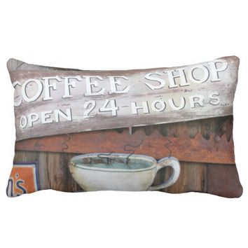 Coffee Shop Cafe Sign Throw Pillows