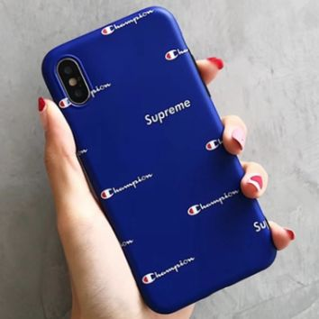 Champion x Supreme co-branded classic iphone7/8 mobile phone case all-inclusive protective cover Blue