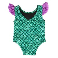 Kids Baby Girls Mermaid One-pieces Bikini Outfits Green Baby Girls Swimming Clothing Swimwear Swimsuit Beachwear Bathing Suit