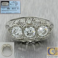 1920s Antique Art Deco Platinum 1.43ctw Diamond Engagement Ring EGL $4800