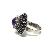 Sterling Silver Amethyst Poison Ring Taxco Mexico Signed JFG