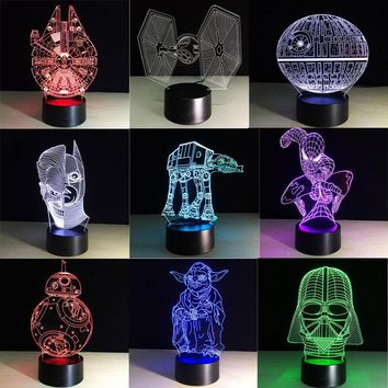 Star Wars Force Episode 1 2 3 4 5 Creative Gifts Death  Lamp 3D Night Light USB Colorful Led Table Ambient Lampara Home Decor Bedroom Nightlight kid toys AT_72_6