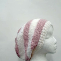 Oversized slouchy beanie knitted hat pink white stripes 4704