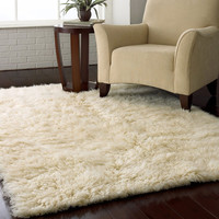 3.5Ft x 5.5Ft Hand Woven Wool Flokati Area Rug in Natural Color