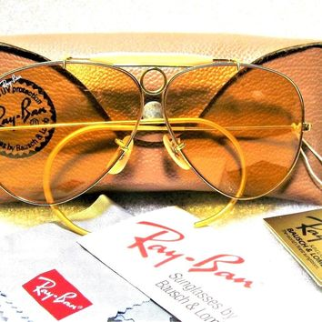 Ray-Ban USA NOS Vintage 80s B&L Aviator Ambermatic Bullet Shooter New Sunglasses