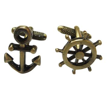 Brass Toned Nautical Anchor and Ship Steering Wheel Helm Cufflinks