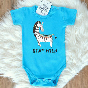 Tribal Baby Clothes. Cute Baby Romper With Funny Safari Zebra Print. Stay Wild Baby Bodysuit. Choose Your Color. Modern Baby Outfit