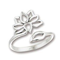 Lotus Flower Sterling Silver Ring on Sale for $16.99 at HippieShop.com