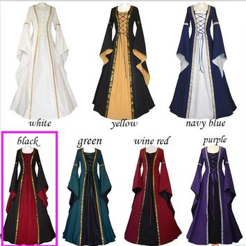 women long medieval dress BALL gown green blue renaissance dress halloween size S-3XL