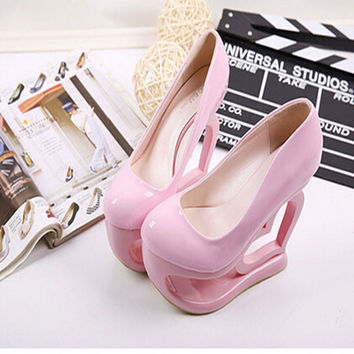 Play Pumps Fetish Ultra High Heels 15 Cm Sexy Models Party Cut Outs Strange Heel Round Toe Summer Style Cheap Shoes China