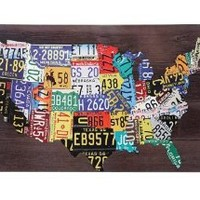 """License Plate USA Map print ART 36"""" x 24"""" Wood frame Graphic Overlay"""
