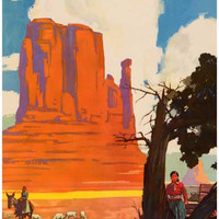 Santa Fe Railroad Navajo Land Travel Poster 11x17