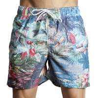 South Shore Men's 'Telstar' Tropical Print Swim Shorts Tropical Large