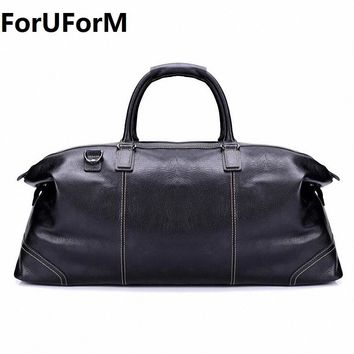 ForUForM Fashion Genuine Leather Travel Bag Men's Leather Luggage Travel Bag Duffle Bag Large Tote Weekend Overnight bag LI-1926
