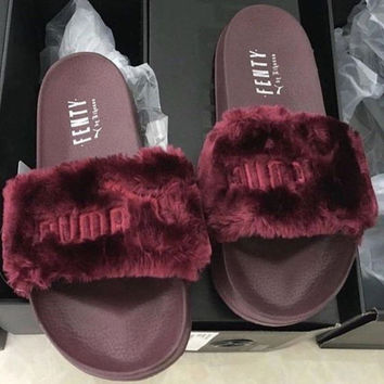 """PUMA"" Rihanna Fenty Leadcat Fur Slipper shoes Wine red(9- colors)"
