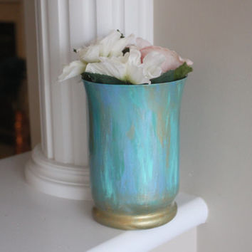 Turquoise Vase, Teal Vase, Aqua Vase, Gold Vase, Beach decor, Ocean Vase, Turquoise centerpiece, Teal Centerpiece, Spa Decor, Bathroom Decor