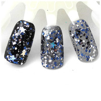 Once Upon a Starry Night - Blue, Silver, White, Prism, Star Glitter Winter Nail Polish (LIMITED EDITION)