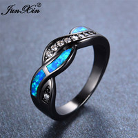 Hot Sale Crossed Style Ocean Blue Fire Opal Finger Ring Black Gold Filled Wedding Party Twist AAA Zircon Rings For Women Men