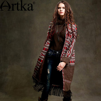 Artka Women's Autumn New Vintage Patchwork Cotton Jacket With Tassel Full Sleeves Bohemian Gypsy Padded Coat