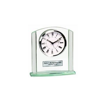 Glass Arch Pillar Engraved Clock Silver Engraving Plate as Anniversary Wedding Retirement Graduation Recognition Award Employee Gift