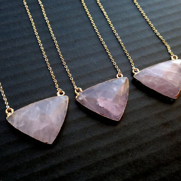 Triangle Stone Necklace Rose Quartz Necklace Geometric Necklace Pink Stone Jewelry Rose Quartz Jewelry Geometric Pendant Gold Edged Stone