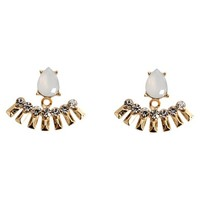 Women's Fashion Front Back Earrings with Stones - Multicolor