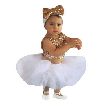 3PCS Sequins Baby's Sets Baby Girls Kids Tops+Tutu Skirts+Headband Princess Party Clothing for Children Girls Christmas Clothes