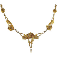 Art Nouveau French 18K solid gold necklace with natural pearl Stunning chiseled estate drapery chain