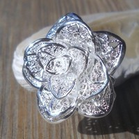 Silver Plated Rose Bud Ring Adjustable Size