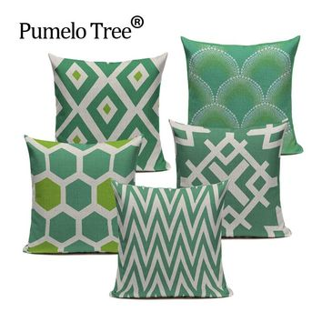 Chevron Green Vintage Throw Pillow Case Square Cushion Cover Home Décor 17x17
