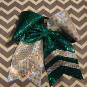 Green and Silver Criss Cross Cheer Bow