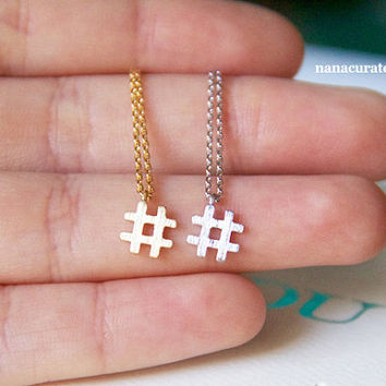 Hashtag Tiny Necklace, Tiny Charm Necklace, Silver Plated Charm Necklace, GoldPlated Necklace, Hashtag, Instagram, Holiday Gifts, Girly Gift