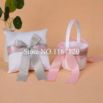Free Shipping,White and Pink Silver Bowknot Satin Wedding Flower Girl Basket and Ring Pillow Set  Wedding Party Favors(BR03)